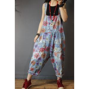 Flowers Printing Summer Cotton Jumpsuits Baggy Denim Dungarees