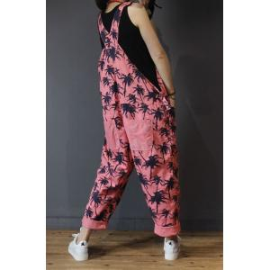 Trees Pattern Straight Pockets Cotton Overalls Womans Pink Jumpsuits