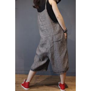 Solid Color Linen Wide Leg Jumpsuits Plus Size Plain Overalls