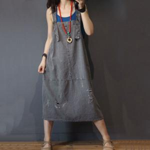 Cotton Linen Oversized Jumper Dress Loose Ripped A-Line Dress