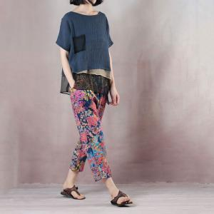 Silk Brim Layering Linen Clothing Summer Blue Casual Blouse