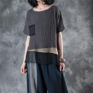 Over50 Style Pinstriped Shirt Silk Splicing Loose Linen Blouse