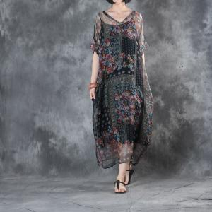 V-Neck Mulberry Silk Floral Dress Beautiful Plus Size Dress with Camisole