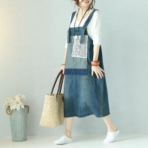 683e2e41ba0 Blue Contrast Denim Jumper Dress Lace Patchwork Jean Dress ...
