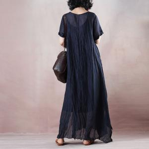 Empire Waist Belted Navy Dress Short Sleeve Plus Size Maxi Dress
