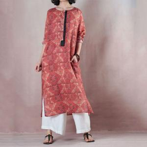 Ethnic Prints Ramie Knee Length Dress Loose Red Dress