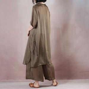 Over50 Style Silky Long Blouse with Comfy Wide Leg Pants