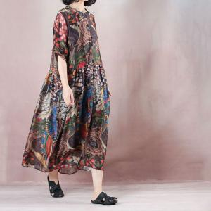 Colorful Artistic Printing Oversized Shirt Dress Summer Dress with A Camisole