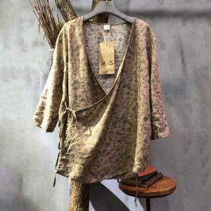 Lace Up Floral Sun Protective Clothing Loose Linen Floral Cardigan