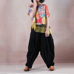 Casual Style Colorful Ladies Blouse Silk Brim Loose Clothing