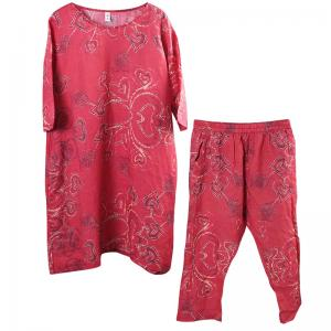 Heart Pattern Loose Red Sets Organic Ramie Two-Pieces Sets for Woman