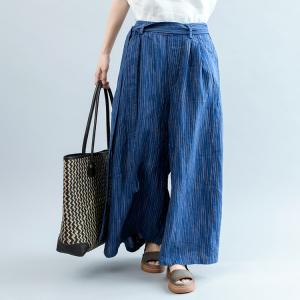 Vertical Pinstriped Blue Wide Leg Pants Womans Plus Size Palazzo Pants
