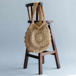 Beach Style Straw Crochet Shoulder Bag Womans Hollow Knitting Bag