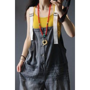Summer Fashion Gray Denim Overalls Casual Button Down Rompers