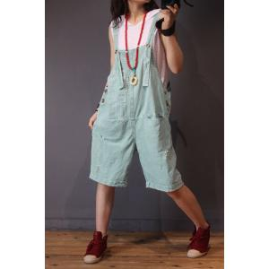 Bright-Colored Ripped Rompers Loose-Fitting Short Casual Jumpsuits
