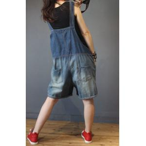 Blue Contrast Distressed Loose Casual Rompers Summer Large Overalls