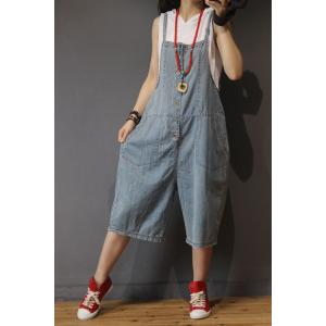 Leisure Style Button Down Rompers Loose Blue Slip Overalls