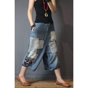 Lace Patchwork Floral Embroidered Jeans Vintage Wide Leg Jeans
