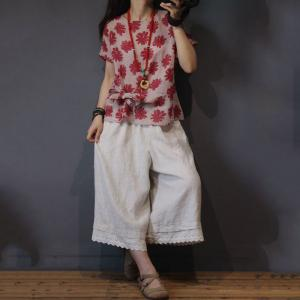 Red Flowers Bowknot Oversized Shirt Cotton Linen Blouse