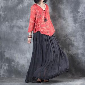 Beach Style Linen Flare Skirt Womans Plus Size Maxi Skirt