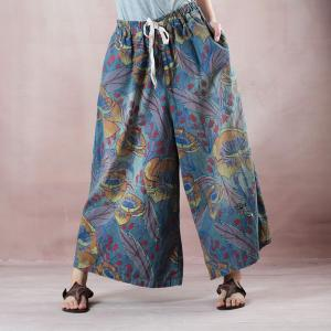 Summer Style Printing Ethnic Pants Cotton Casual Wide Leg Trousers