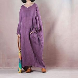 Jacquard Weave Linen Caftan Dress Flare Plus Size Purple Dress ...