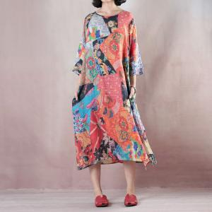 Japanese Style Colorful Printing Linen Dress Loose Fall Short Dress