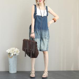 Gradient Blue Denim Plus Size Rompers Casual Ripped Overalls