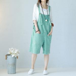 Girlish Summer Cotton Overalls Loose Distressed Rompers