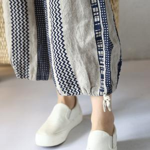 Boho Chic Vertical Striped Wrap Pants Cotton Linen Summer Trousers