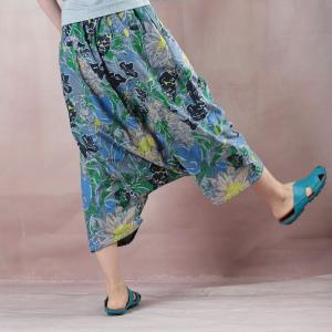Individual Cotton Cropped Pants Fashion Printed Thai Pants