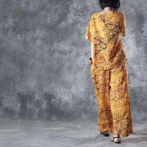 Holiday Style Birds Printing Loose Top with Linen Wide Leg Pants