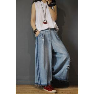 Hollow Out Wide Leg Frayed Jeans Fashion Denim Pants