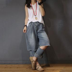 Korean Style Raw Hem Ripped Jeans Fashion Baggy Jeans