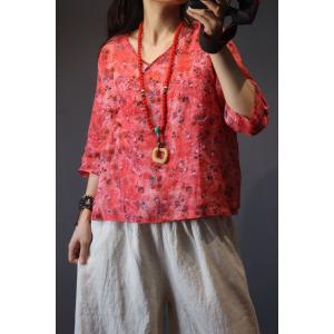 Chinese Vintage Cotton Linen Clothing Elegant Printing Blouse
