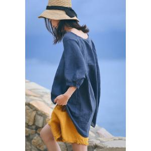 Beach Style Frayed Shorts Summer Linen Womens Shorts