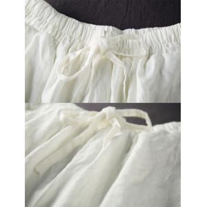 Summer Fashion White Bloomers Loose Drawstring Linen Pants