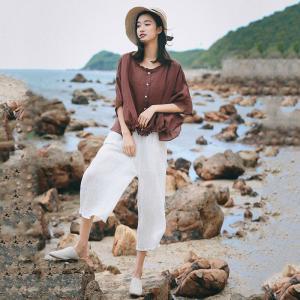 bf9611a3 Korean Fashion Plus Size Linen Shirt Bat Sleeve Ruffles Casual T-shirt