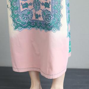 Ethnic Pattern Pink Jumper Dress Large Cotton Pregnancy Dress