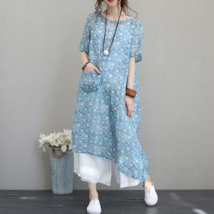Front Pocket Polka Dot Blue Dress Linen Knee Length Dress