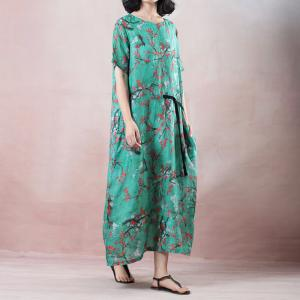 Plum Blossom Chinese Dress Vintage Green Shift Dress