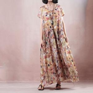 Loose-Fitting Vintage Printing Dress Belted Short Sleeve Dress