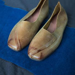 Manual Staining Cowhide Leather Flats Vintage Ballerina Shoes