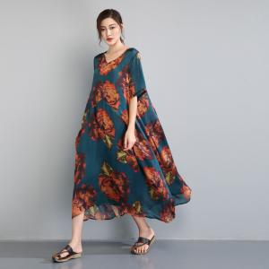 Beautiful Peony Plus Size Maxi Dress Vintage Flare Caftan with Camisole