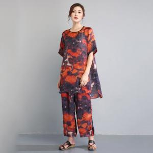 Original Design Flowers Printed Sets Loose Beautiful Two-Pieces