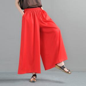 Solid Color Silk Wide Leg Trousers Casual Flowy Pants