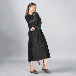 Red Ropes Oversized Sweater Dress Cotton Black Long Sleeve Dress
