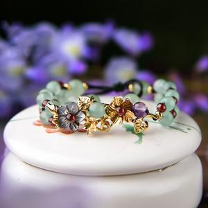 Chinese Vintage Metallic Flowers Adjustable Beaded Bracelets
