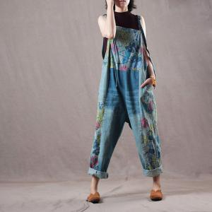 Loose-Fitting Colorful Floral Jumpsuits Casual Jeans Dungarees