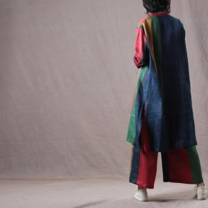 Colorful Long Sleeve Linen Shirt  with Casual Wide Leg Pants